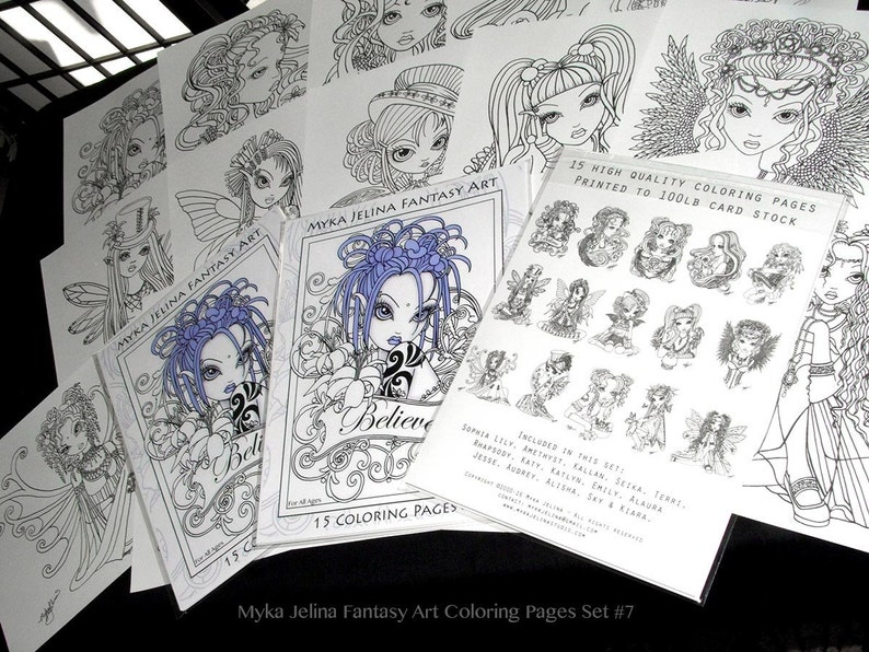 Set  7  Printed Coloring Pages  FREE US SHIPPING  Adult image 0