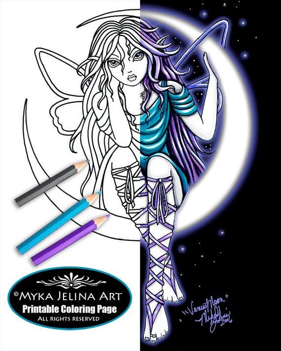 Venus Mond Fee Digitalen Download Malvorlagen Linie Myka Jelina Kunst Halbmond