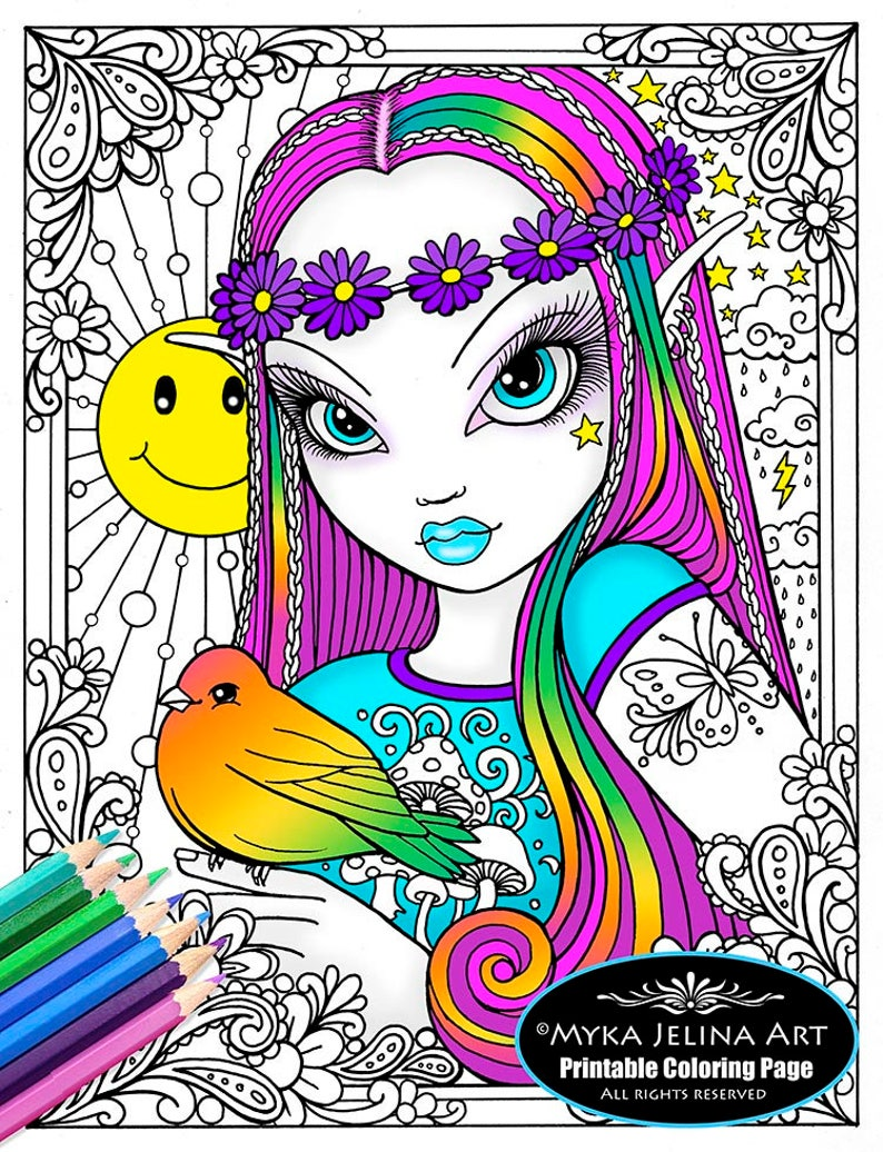 Coloriage Fleur Hippie.Telechargement Numerique Coloriage Page Line Art You Are My Etsy