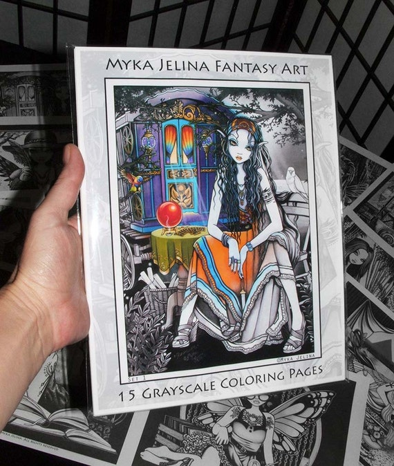 Set 1 - 15 Pages - FREE US Shipping - Myka Jelina - Fantasy Art - Grayscale  - Adult Coloring Pages - Bohemian Gypsy - Boho Girls