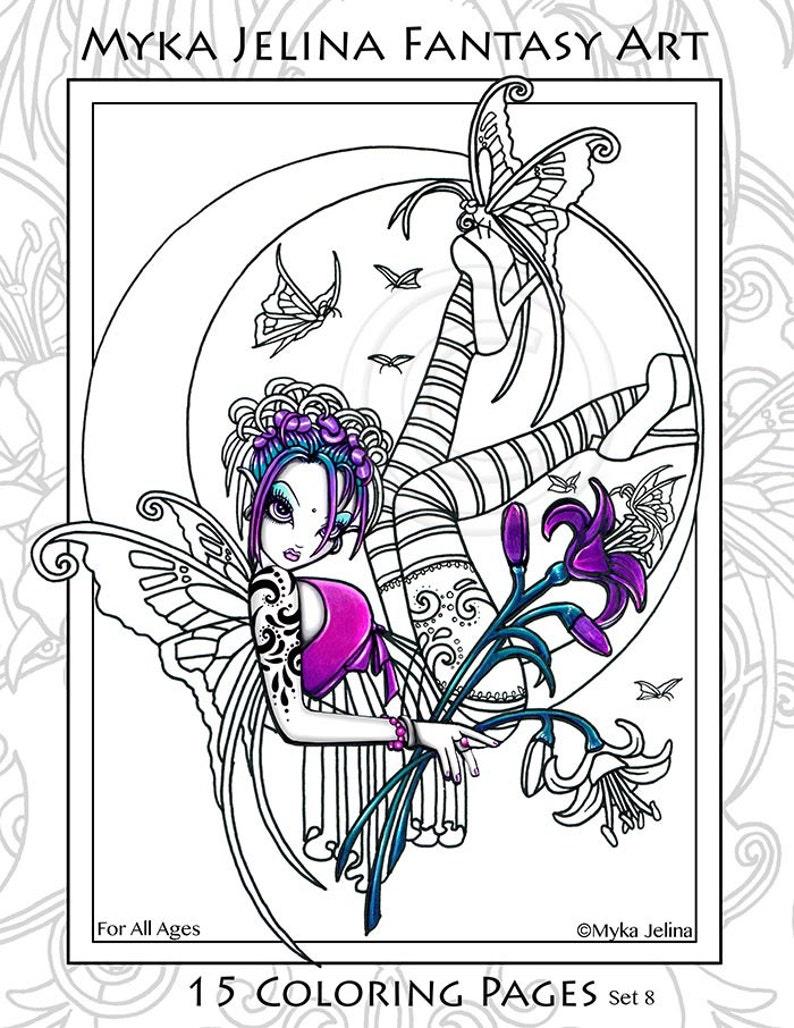 Ensemble 8 Coloriages Imprimés Gros Yeux écarquillés Fée Ange Art Livre De Coloriage Feuilles Mobiles 15 Pages Us Libre D Expédition
