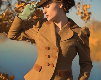 Tweed Bicycle Jacket----Victorian Style in Your Choice of Fabrics