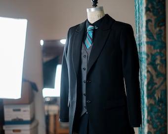 Black Gabardine, Charcoal Nailhead----A 3pc Suit for Women