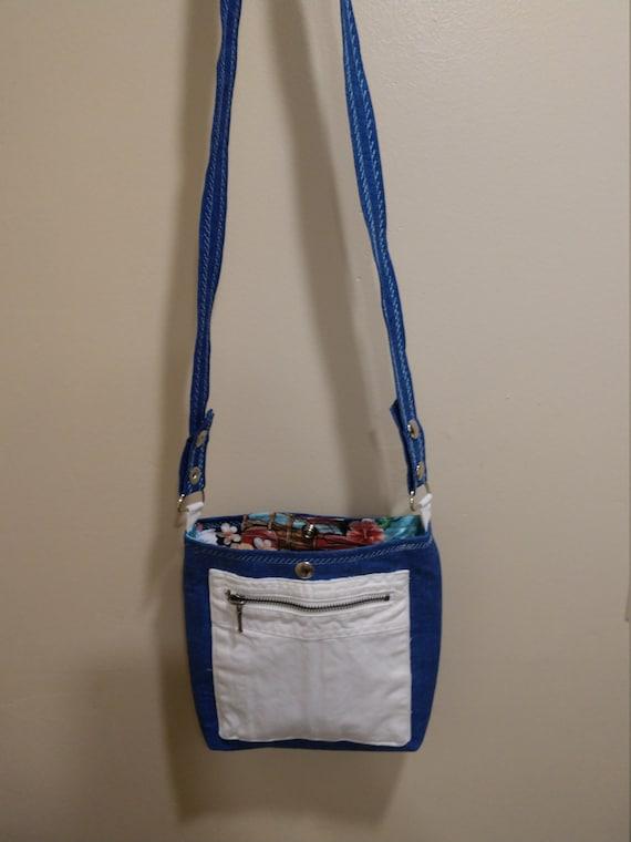 Denim upcycled cross body bag