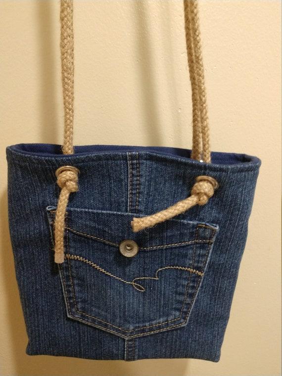 Denim upcycled shoulder bag