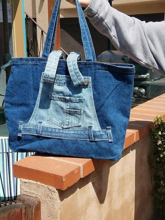 Denim Upcycled Overall Tote Bag