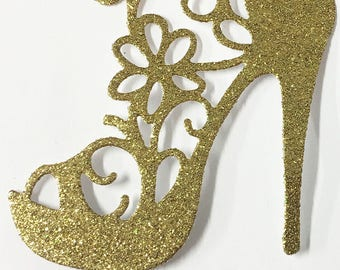 High Heel Shoe Glitter Die Cut Gold Glitter Card Stock - Glamorous Feminine Embellishment Scrapbook Card Party Invitation Art Craft Collage