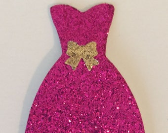 Dress Pink Glitter Gold Bow Accent Die Cut Embellishment - Scrapbook Greeting Card Paper Art Craft Mixed Media ATC ACEO Altered Attic