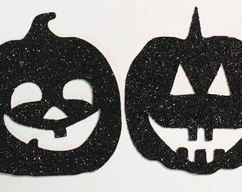 "Halloween Jackolantern Pumpkin Die Cuts Black Glitter Cardstock - 2"" Size - Scrapbook Art Craft Embellishment Party Greeting Card Invitation"