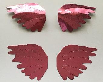 Angel Wings Pink Foil Flourish Pattern Card Stock - Perforated Folds Dimensional Design - Art Craft Scrapbook Embellishment Mixed Media