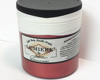Lumiere Metallic Russet 566 - 8 oz Size - Brilliant Light Body Metallic Acrylic Paint - Art Craft Fabric Canvas Wood Paper Burgundy Red