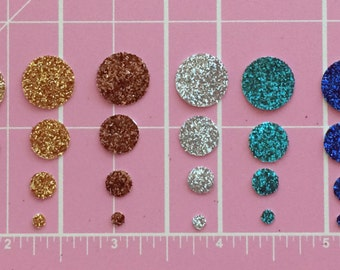 "30 Small Glitter Circle Die Cut Stickers CHOOSE 10 Colors & 4 Sizes 1/8"" 1/4"" 3/8"" 1/2"" Decorative Embellishments Scrapbook Art Craft Cards"