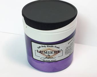 Lumiere Pearlescent Violet 569 - 8 oz Size - Brilliant Light Body Metallic Acrylic Paint - Art Craft Fabric Canvas Wood Paper Pearl Finish