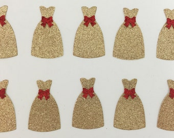Dress Gold Glitter Red Bow Accent Die Cut Embellishment - Scrapbook Greeting Card Paper Art Craft Mixed Media ATC ACEO - Altered Attic