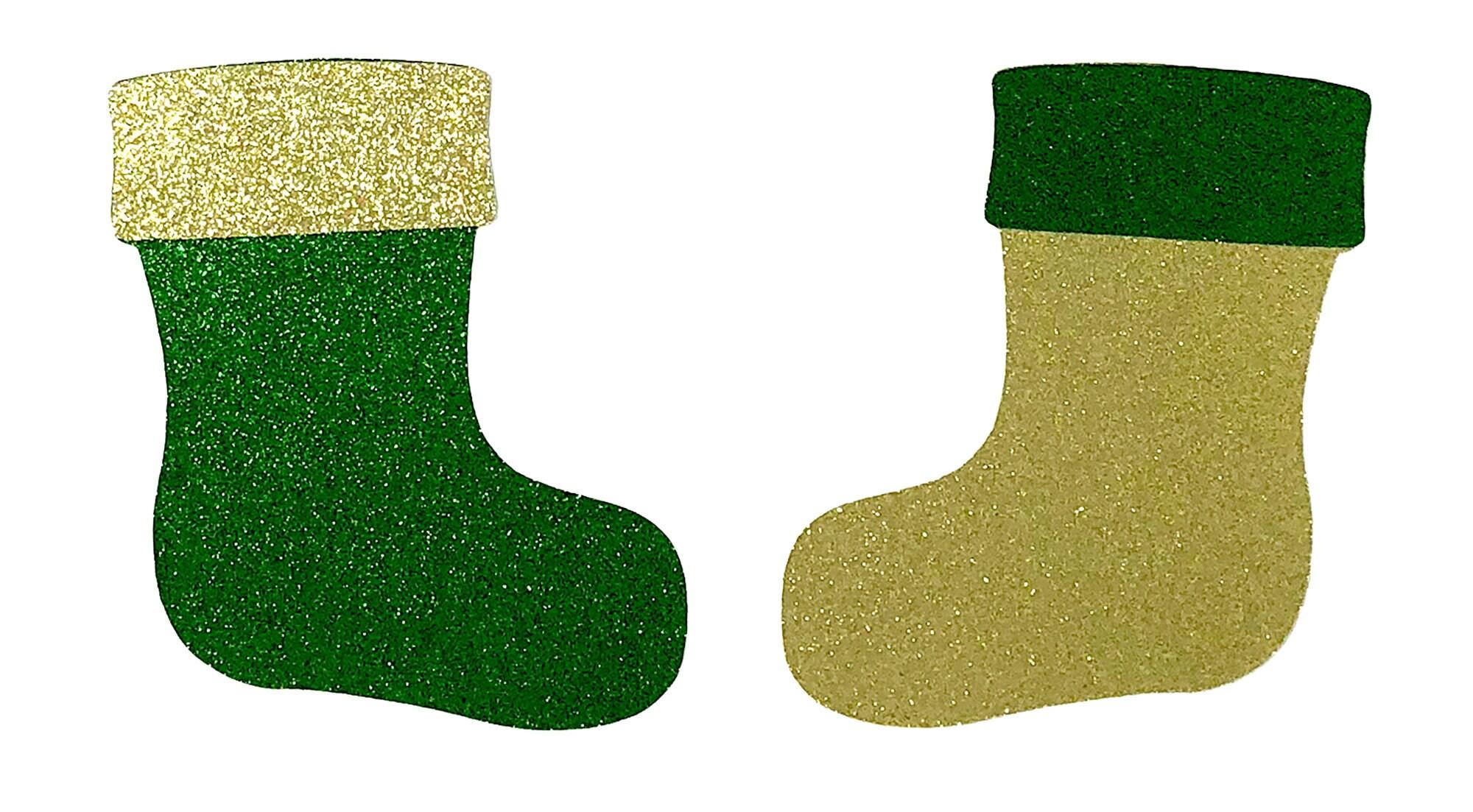 Bas or de Noël prédécoupés paillettes or Bas et vert carton - 4