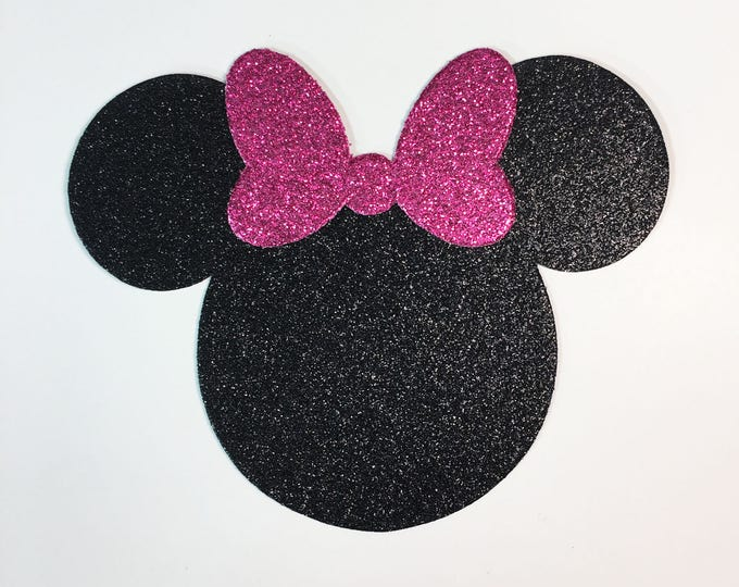 Featured listing image: Disney Minnie Mouse Large 4 Inch Black Glitter Cardstock Pink Glitter Bow Die Cut Scrapbook Art Craft Birthday Party Decor Invite