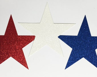 Giant Glitter Star Die Cuts Red White Blue - 7-3/4 Inch Size -  Memorial Day 4th of July Holiday America Military Patriotic Party Decor