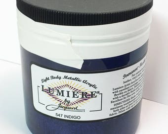 Lumiere Indigo 547 - 8 oz Size - Brilliant Light Body Metallic Acrylic Paint - Art Craft Fabric Canvas Wood Paper Pearl Finish
