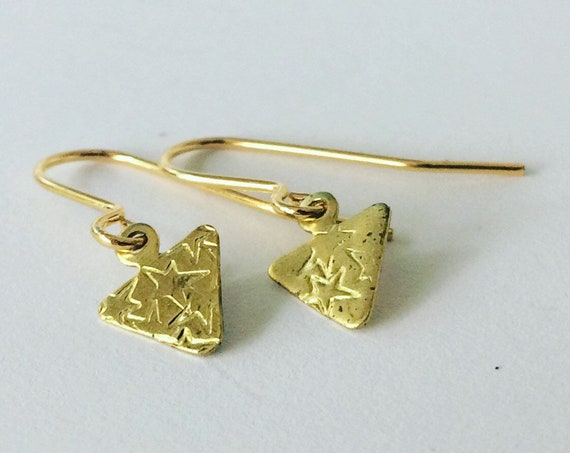 Gold Brass Triangle Earrings with Stars Celestial Geometric Everyday Simple Modern Small Gypsy Gold Stars Tiny Cute Folk Romantic Gift Girlf