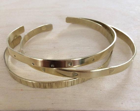 Trio of Brass Cuffs in Gift Box - Birthday - Thank You - Love - Girls Gift - Childs Gift -