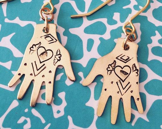 Frida Kahlo inspired Gold Brass Hand Earrings Hearts Tattoo Milagro Gypsy Mexican Dias De Los Muertos Art Feminine Delicate folk Unusual