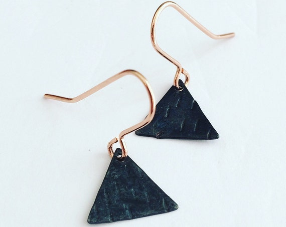 Matte Black Tiny Triangle Earrings Modern Textured Unique Simple Geometric Rose Gold Everyday Classic Minimal Chic