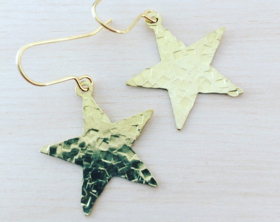 Gold Raw Brass Hammered Star Earrings Golden Dangle Drop Boho Bohemian Festival Gift Gypsy Romantic Mystic Tarot Witch Holiday Christmas