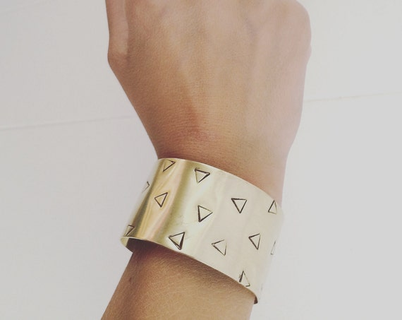Gold Raw Brass Wide Cuff with Triangles Geometric Minimal Minimalist Bangle Bracelet Stacker Festival Modern Statement Stylish Classic