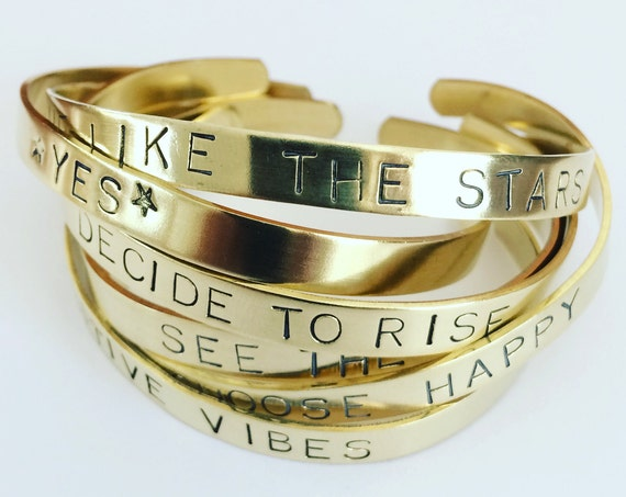 Gold Positive Vibes Brass Cuffs - Yes Quotes Mental Health Love Support Healing Self Care Gifts Uplifting Strength Love Friendship Hope