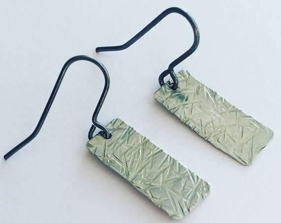 Silver Gun Metal Tone Earrings With Crosshatch Texture on Blackened Brass Ear Wires Minimalist Modern Geometric Simple Minimal Industrial