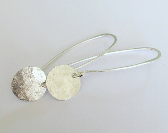 Hammered Sterling Silver Moon Discs on Sterling Wire Planished Simple Modern Minimalist Luna Minimal Celestial Boho Understated Delicate