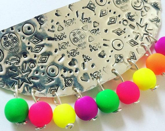 terling Silver Bib Necklace Mexican Neon Glass Beads Bohemian Boho Festival Statement Folk Art