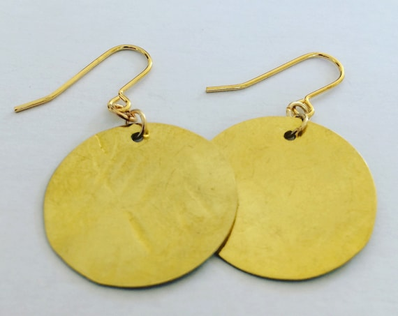Gold Hammered Raw Brass Disc Earrings Modern Geometric Circular Planished Gypsy Round Classic Simple Stunning Statement Bohemian Romantic