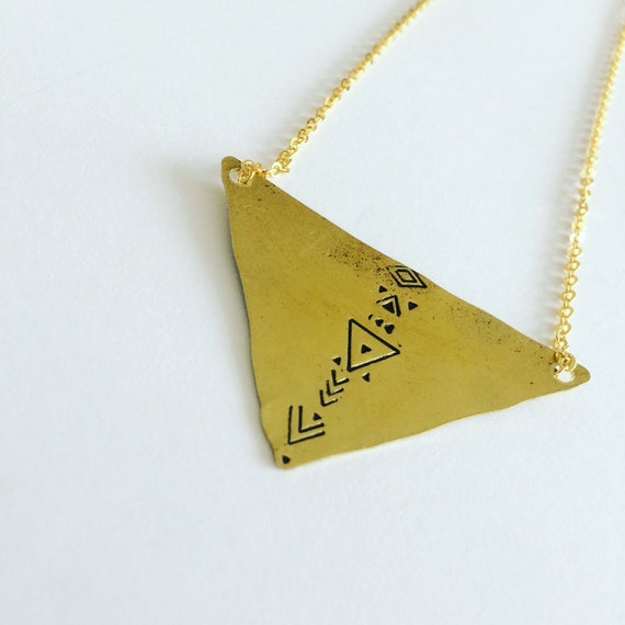 Gold Tribal Triangle Necklace Brass Chocker Short Mysticism Boho Aztec