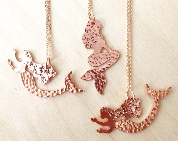 Copper Mermaid on Rose Gold Plated Chain Mythical Sea Gold Festival Holiday Wicca Witch Sea Ocean Beach Nature Love Gift Hammered