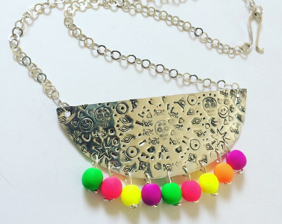 Sterling Silver Mexican Tin Inspired Bib Necklace in with Neon Glass Beads Bohemian Boho Festival Statement Folk Art Dias de los Muertos