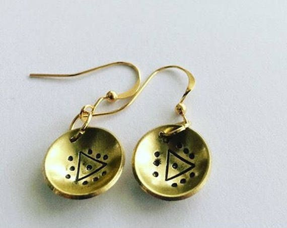 Gold Domed Brass Earrings with Evil Eye Triangle Motif Festival Bohemian Boho Gypsy Drop Folk Geometric Modern Mysticism Statement Witch
