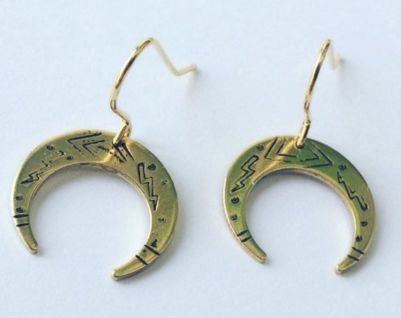 Gold Brass Crescent Moon Earrings Venus Luna Wicca Witch Tribal Folk Art Bohemian Boho Festival Mystical Feminine Delicate Celestial