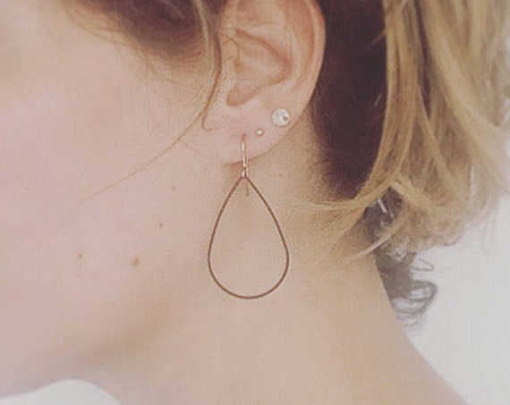 Black Brass Teardrop Hoops on Rose Gold Plated Ear Wires Modern Geometric Stylish Minimal Minimalist Cool Arty Statement Delicate Feminine