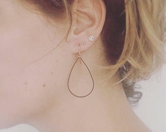 Black Brass Teardrop Hoops on Rose Gold Plated Ear Wires Modern Geometric Stylish Minimal Minimalist Cool Arty Statement Delicate Feminine