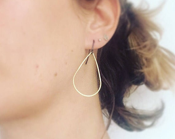 Gold Raw Brass Teardrop Hoop Earrings on Blackened Brass Ear Wires Delicate Feminine Minimal Modern Simple Subtle Geometric Cool Stylish