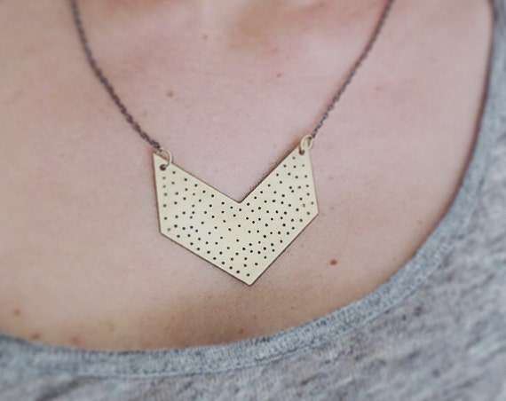Gold Raw Brass Large Spotted Chevron Necklace Statement Geometric Minimal Minimalistic Simple Dots Hammered Bib Necklace Feminine