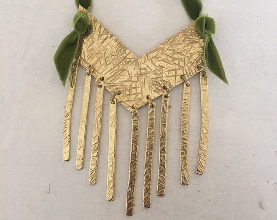 Large Brass Fringed Statement Chevron Necklace - Gold - Bohemian - Boho - Gypsy - Bold