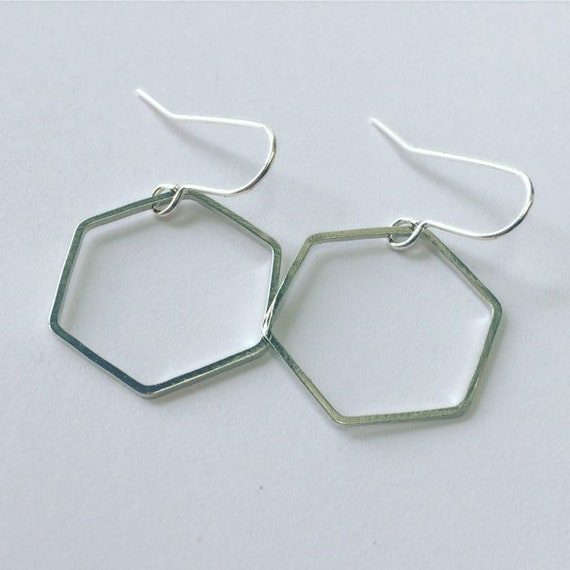 Silver Hexagon Hoop Earrings Hexagonal Silver Tone Geometric Simple Minimalist