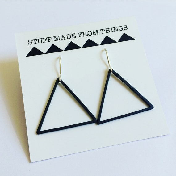 Black Triangle Earrings Silver Hoops Geometric Modern Minimalist Minimal Drop Stylish Cool Arty Simple Delicate Light Statement Feminine