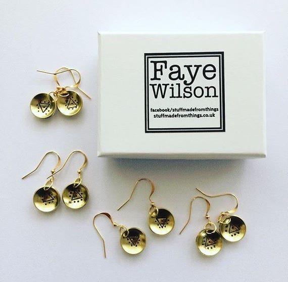 Gold Domed Brass Earrings with Evil Eye Triangle Motif Festival Bohemian Boho Gypsy Drop Folk Geometric Modern Mysticism Statement Witch