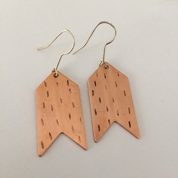 Copper Chevron Dash Earrings Punched Boho Bohemian Festival Geometric Modern Contemporary Minimal Minimalist Delicate Feminine Statement