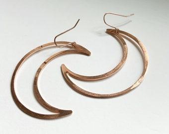 Copper Big Mamma Moons Hoop Earrings -Rose Gold - Raw Copper - Celestial - Crescent - Moons