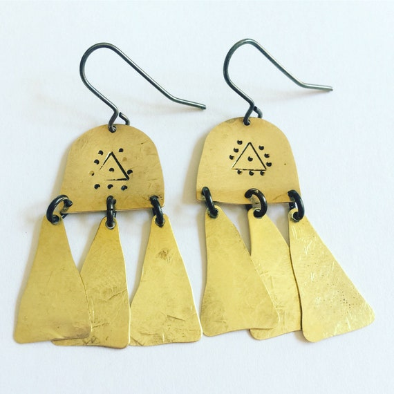Gold Brass boho Large Earrings Chandelier Hammered Aztec Frida Inspired Evil Eye Festival  Gypsy Mysticism Statement Berber Catching Unusual