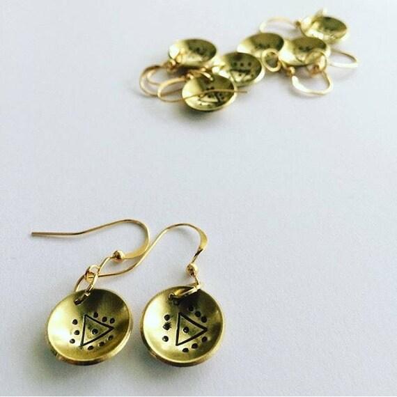 Domed Brass Earrings with Triangle Motif - Festival - Boho - Gypsy - Drop - Gold - Folk - Geometric - Magik